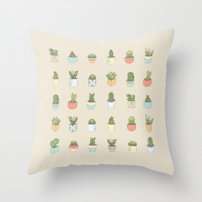 Cute Succulents Throw Pillow