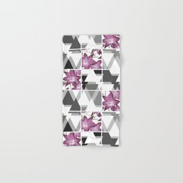 Pink lilies on grey triangles . Hand & Bath Towel