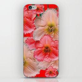 MODERN RED  PINK & CREAM DAYLILIES GARDEN PATTERNS iPhone Skin