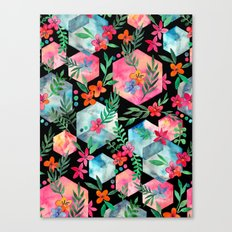Whimsical Hexagon Garden on black Canvas Print