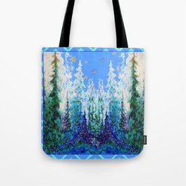 Western  Blue Modern Art Mountain Blue Winter Trees  Art Tote Bag