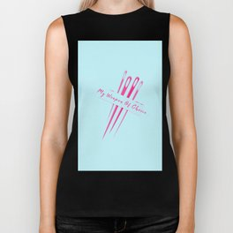 My Weapon Of Choice Funny Pun Sewing Sew Biker Tank