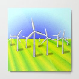 Windfarm in a field Metal Print