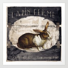 Vintage French Farm Sign Rabbit Art Print