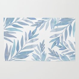 Muted Blue Palm Leaves Rug