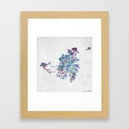 St Martin map Framed Art Print