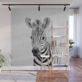 Baby Zebra - Black & White Wall Mural