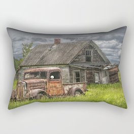 Old Vintage Pickup in front of an Abandoned Farm House Rectangular Pillow