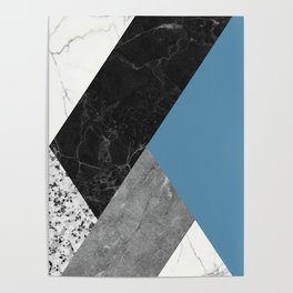 Black and White Marbles and Pantone Niagara Color Poster