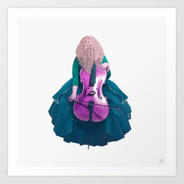 Forest Green Cellist II Art Print