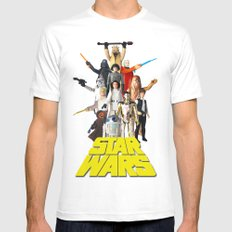 Star War Action Figures Poster - First 12 - Vintage Texture MEDIUM White Mens Fitted Tee