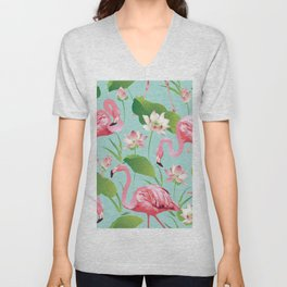 Flamingos Pattern on Aqua Unisex V-Neck