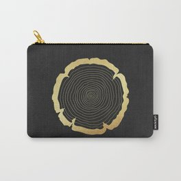 Metallic Gold Tree Ring on Black Carry-All Pouch