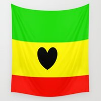 rasta Wall Tapestries featuring Love Rasta  by shannon's art space
