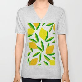 Pop Lemon & green Pattern #summervibes Unisex V-Neck
