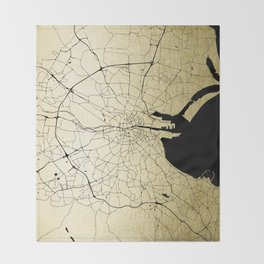 Dublin Ireland Green on White Street Map Throw Blanket