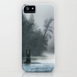 Remnant Of A Washed Out Bridge On A Foggy Afternoon iPhone Case