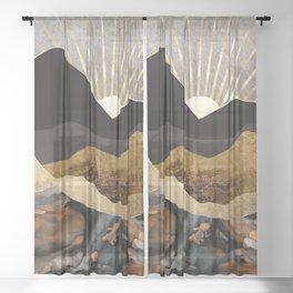 Copper and Gold Mountains Sheer Curtain