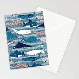 Origami Sea // linen texture and nautical stripes background teal white and taupe whales Stationery Cards