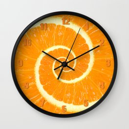 Spiral Citrus Orange Droste  Wall Clock