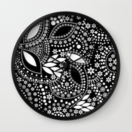 Placer of white beads on a black background . Wall Clock