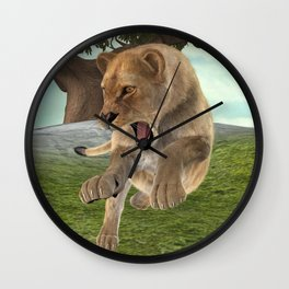 Hunting Lioness Wall Clock