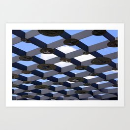 Geometric Shapes Blue Grey White Art Print