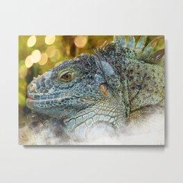 Large Scaly Green Iguana Lizard Metal Print