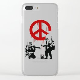 Soldiers Painting Peace Symbol, Banksy, Streetart Street Art, Grafitti, Artwork, Design For Men, Wom Clear iPhone Case