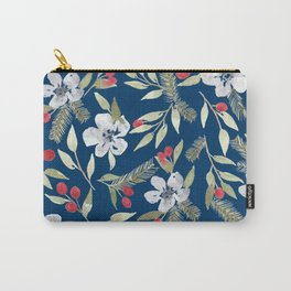 Navy Watercolor Flower Pattern Carry-All Pouch
