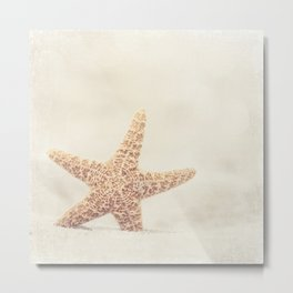 Starfish Beach Photography, Beige Cream Coastal Art, Neutral Seashore Photograph Metal Print