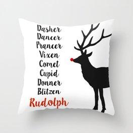 Santa's Christmas Reindeer Throw Pillow