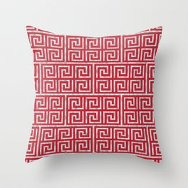 Oriental Symbol (Red & Silver) Throw Pillow