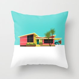 Mid Century House, Miami Throw Pillow
