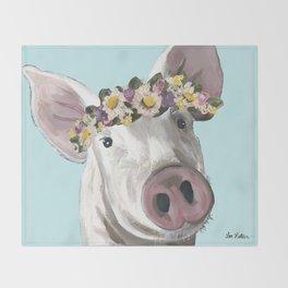 Flower Crown Pig, Farm Animal Art Throw Blanket