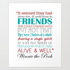 Winnie The Pooh Quotes About Friendship Impressive Winnie The Pooh Friendship Quote  Blues & Greens Art Print.