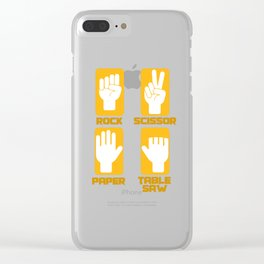 Rock Paper Scissors Saw Craftsman gift Clear iPhone Case