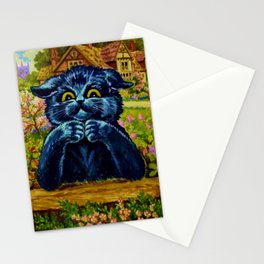 Black Cat  In Garden - Louis Wain Cats Stationery Cards