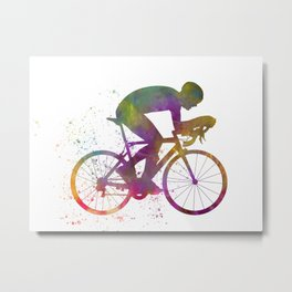 Winning Male Cyclist In Watercolor 06 Metal Print
