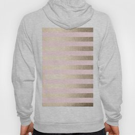 Stripes White Gold Sands on Pink Flamingo Hoody