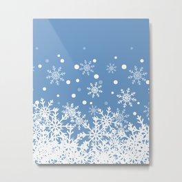 Snow Powdered Blue Background Metal Print