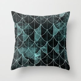 Mermaid scales. Mint and black. Throw Pillow
