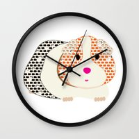 guinea pig Wall Clocks featuring Guinea Pig Patterned Guinea Pig by Upcyclepatch