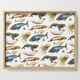Whales and a Little Squid Serving Tray