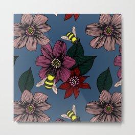 Dark Floral with Bees Metal Print
