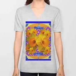 Golden Daffodils Blue Morning Glories Garden Pattern Unisex V-Neck
