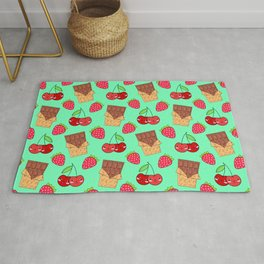 Cute funny sweet yummy chocolate bars, little cherries and red ripe summer strawberries cartoon fantasy light pastel green pattern design Rug