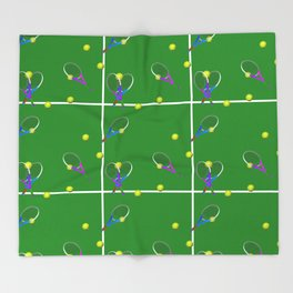 Tennis Rackets and Ball Throw Blanket