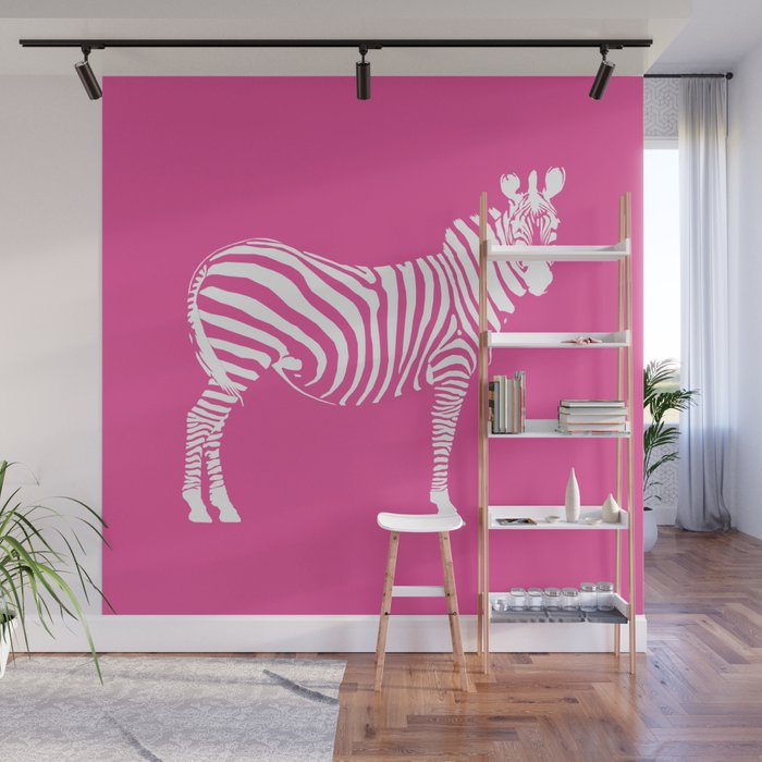 Big Pink Zebra Wall Mural by siii Society6