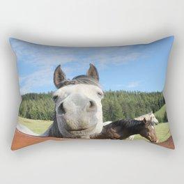 Horse Smile Photography Print Rectangular Pillow